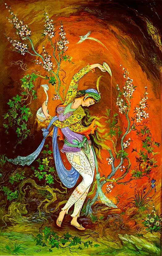 Paintings from ostad mahmoud farshchian for Divan of hafez